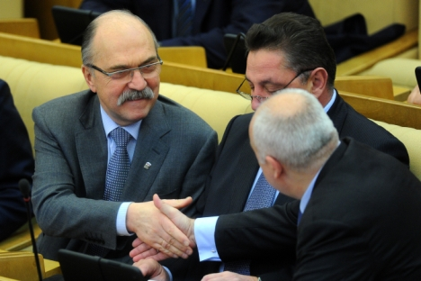 Vladimir Pekhtine (sur la photo), président du comité d'éthique de la Douma et membre éminent du parti de droite Russie unie, qui est la dernière victime d'un scandale de corruption. Crédit : Itar-Tass