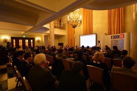 Forum économique organisé par la Chambre de Commerce et d'Industrie Française en Russie le 7 février 2013 à Moscou. Source : service de presse