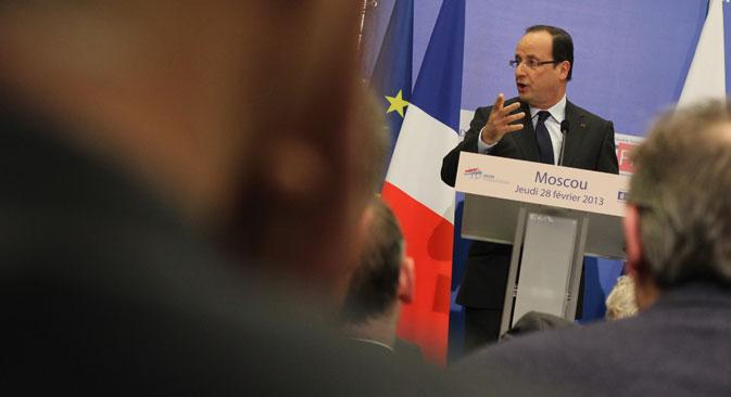 François Hollande est le premier président français à rencontrer la communauté d'affaires française à Moscou lors d'une visite officielle. Crédit : Benjamin Hutter