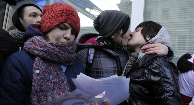 L'homosexualité est devenue « plus visible et moins tabou », exaspérant ainsi la partie conservatrice de la société russe.  Crédit : Itar-Tass