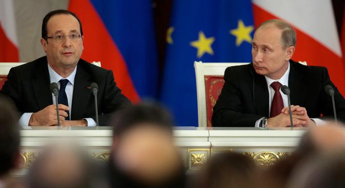 Le président français a remercié Vladimir Poutine pour son soutien dans l'intervention de la France au Mali.  Crédit : AP