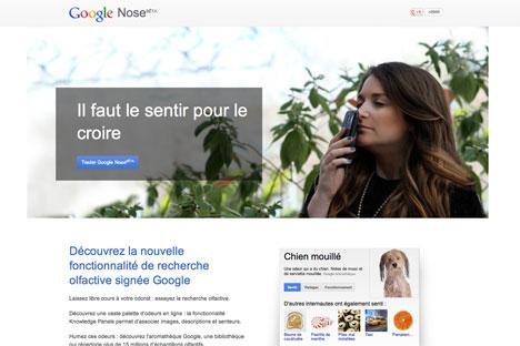 Google a annoncé le lancement du service Google Nose, censé permettre de détecter et de transmettre des odeurs. Source : Google.fr/nose