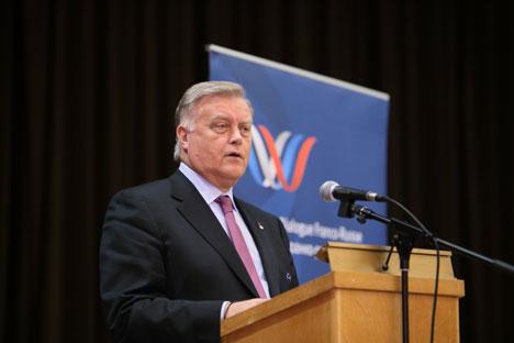 Vladimir Iakounine à l'assemblée générale du Dialogue. Source : Service de presse