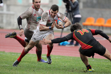 Le match Russie-Belgique lors de la Coupe d'Europe des Nations de rugby en mars 2013. Mikhaïl Mokrouchine / RIA Novosti