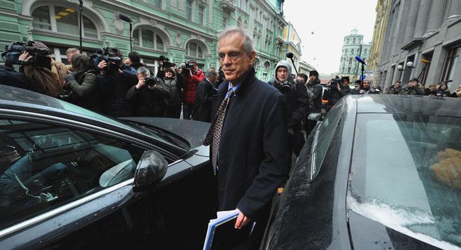 Le ministre chypriote des Finances Michael Sarris lors de sa visite à Moscou le 20 mars dernier. Crédit photo: AFP / EastNews