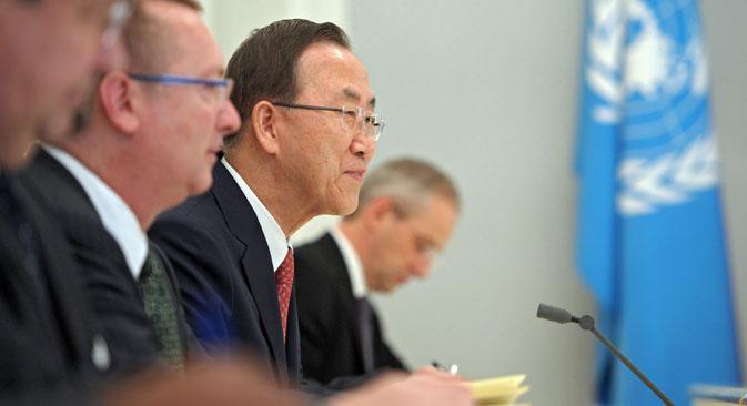 Le secrétaire général de l'ONU a exprimé l'espoir que la Russie continuerait à jouer un rôle de premier plan dans la résolution des problèmes du monde. Crédit : Alexeï Droujinine / RIA Novosti