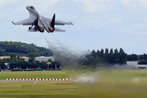 En plus du fuselage, la maniabilité élevée du Su-35 est due à son propulseur. Crédit : Reuters