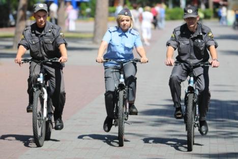 L'adoption des vélos par la police ne se limitera pas au sud-ouest de la capitale mais sera appliqué dans toute la ville. Crédit : Itar-Tass