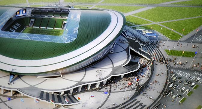 Les installations de Kazan et de Sotchi seront mises en service en premier lieu. Sur la photo, le stade Kazan Arena. Crédit : Itar-Tass
