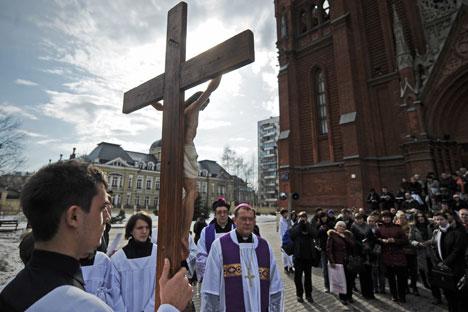 L'archevêque de l'archidiocèse de la Mère de Dieu Paolo Pezzi en visite à Moscou. Crédit : Itar-Tass