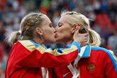 baiser sur le podium