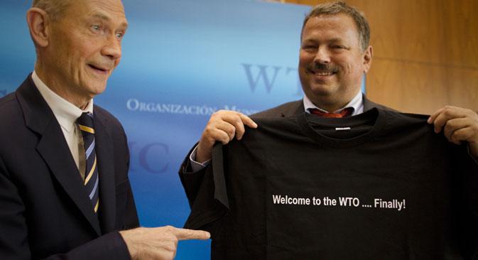 La Russie est devenue le 157e membre de l'OMC le 22 août de l'année dernière. Crédit : AP
