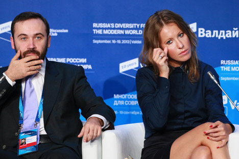 "Sitting next to Sobchak (R) was economist Mikhail Delyagin, who described his views on Russia's current political establishment, calling it a ""government of crooks – a machine for converting public property into private possessions for the benefit of a handful of elected representatives."" Source: Anton Denisov RIA Novosti"