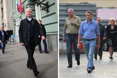 À gauche, le maire sortant Sergueï Sobianine. À droite, l'opposant Alexeï Navalny. Crédit : Photoshot/Vostock-Photo