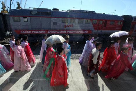 Cérémonie d'inauguration sur le terminal portuaire de Rajin. Crédit photo : RIA Novosti