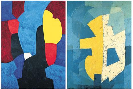 Composition abstraite, 1968 (à gauche), Composition, 1950 (à droite). Source : Service de presse