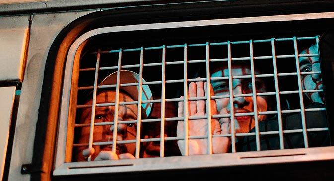 Plusieurs dizaines d'émeutiers ont été interpellés lors des émeutes. Crédit : Sergueï Bobylev/Itar-Tass