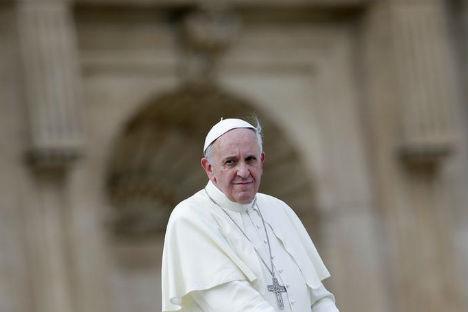 Avant de le quitter, le Pape a demandé au président russe de transmettre ses meilleurs vœux au patriarche Cyrille. Crédit : Reuters