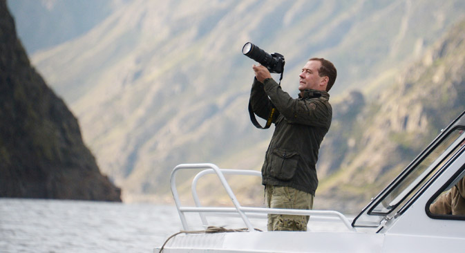 Prime miniter Dmitry Medvedev is a keen photographer. Source: AP