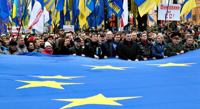 La rejet inattendu du président Victor Ianoukovitch de l'accord d'association avec l'Union européenne a été un choc pour une grande partie de la société ukrainienne. Crédit : EPA/Itar-Tass