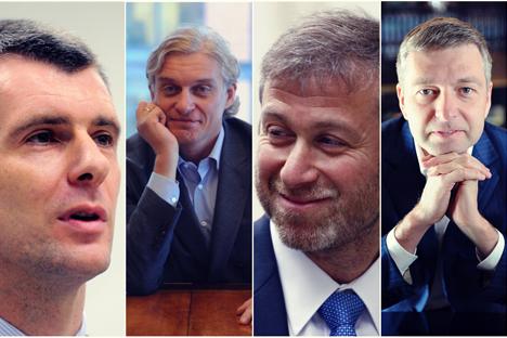 De gauche à droite : Mikhaïl Prokhorov, Oleg Tinkov, Roman Abramovitch et Dmitri Rybolovlev