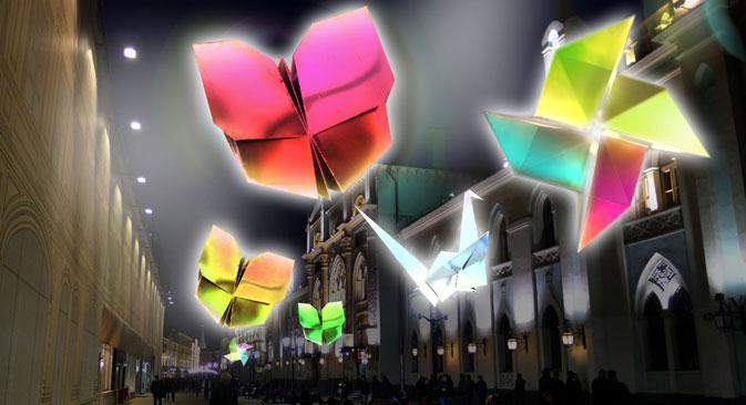 La rue Nikolskaïa accueillera 12 autres origamis, plus grands, réalisés par un autre designer français,  Jacques Rival. Source : www.archizip.com