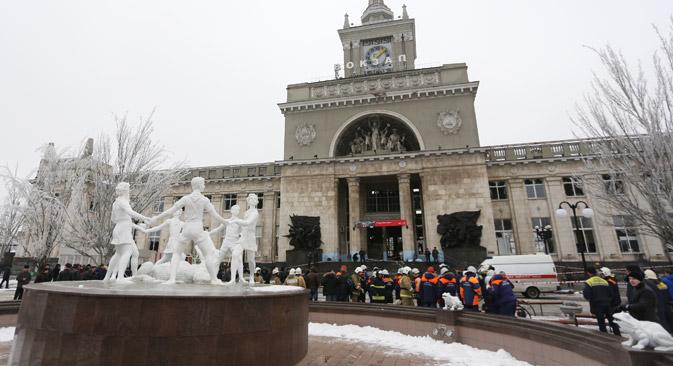 Les victimes se trouvaient autour du portique au moment de l'explosion. Crédit : RIA Novosti