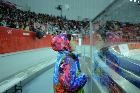 A volunteer before the hockey match at the Sochi Olympics. Source: Mikhail Mordasov