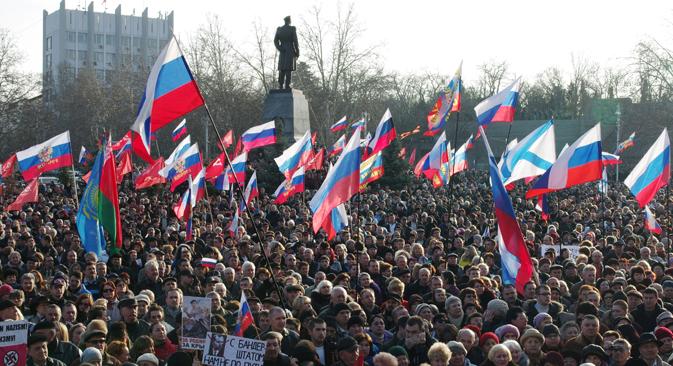 Une manifestation du parti Narodnaïa volia à Sébastopol, 2014. Crédit : Vasiliy Batanov / RIA Novosti