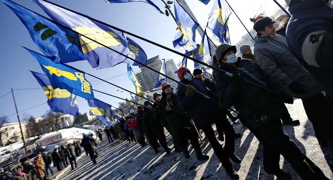 Preocupação da Rússia é causada pela disposição agressiva dos oponentes do presidente Ianukovitch Foto: Photoshot/Vostock Photo