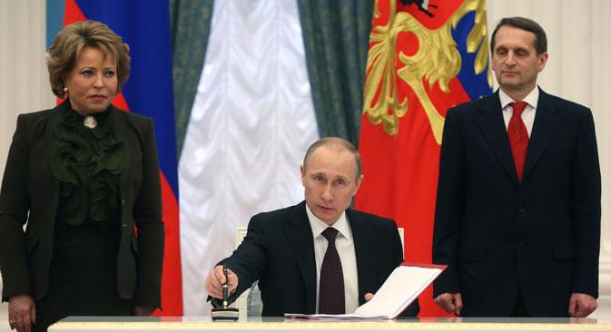 Dans son discours, Poutine a fait comprendre que la Russie se comportera désormais comme les Etats-Unis. Crédit : AP