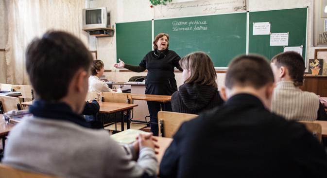 Salle de classe dans une école russe à Sébastopol. Crédit : Sergueï Savostianov/RG