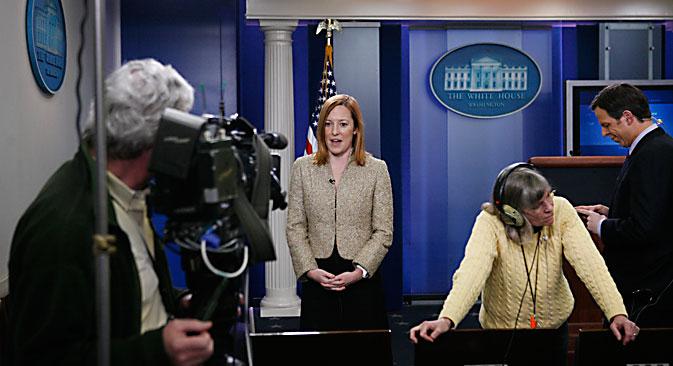 Jennifer Psaki, représentante officielle du Département d'État. Crédit photo : AP