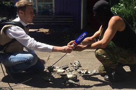 Der Journalist des russischen staatlichen Fernsehsenders WGTRK Igor Korneljuk (links) kam am 17 Juni nahe Lugansk ums Leben. Foto: Pressebild