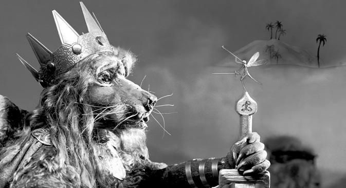 « Le lion et le moucheron » (1932), d'après une fable de La Fontaine, l'un des six courts métrages présentés sur le DVD « Les Fables de Starewitch ». Source : Service de presse