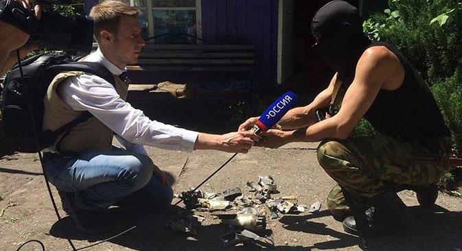 L'équipe de VGTRK travaille en Ukraine. Crédit : press VGTRK