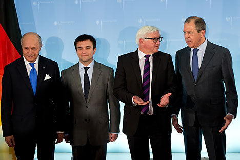 Left to right: Laurent Fabius, Klimkin, Frank-Walter Steinmeier and Lavrov. Source: AP