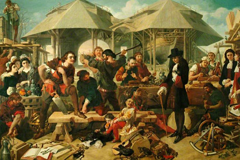 """Pierre le Grand au chantier naval de Deptford"", Daniel Maclise. Source : wikipedia.org"
