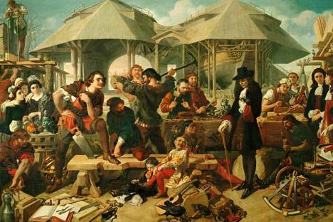 """""""Pierre le Grand au chantier naval de Deptford"""", Daniel Maclise. Source : wikipedia.org"""