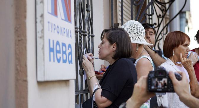 Au moment de la faillite, sept mille personnes se trouvaient en vacances à l'étranger après avoir réservé un séjour avec la société Neva. Crédit : Alexeï Danichev/RIA Novosti
