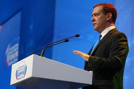 Le premier ministre russe Dmitri Medvedev au Forum d'investissement de Sotchi. Crédit : Ekaterina Chtoukina/RIA Novosti