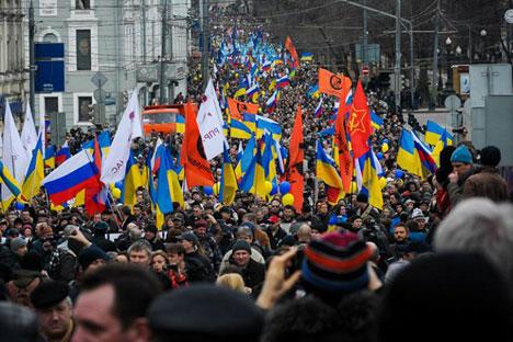 La dernière en date s'est tenue le 15 mars dernier, alors que l'Ukraine était encore loin de toute opération militaire. Source : page Facebook de la marche pour la paix du 21 septembre