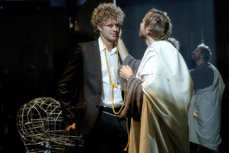 Répétition du spectacle Tellurie, d'après le roman de Vladimir Sorokine. Crédit photo : Alexei Danichev/RIA Novosti