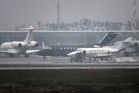 The Falcon business jet crashed at Moscow's Vnukovo airport in 2014.