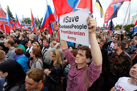 Manifestation de soutien à la population du Donbass Crédit: Reuters