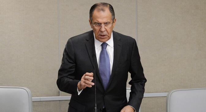 Le chef de la diplomatie russe Sergueï Lavrov lors d'une réunion plénière de la chambre basse du parlement russe. Crédit photo : Ramil Sitdikov/RIA Novosti