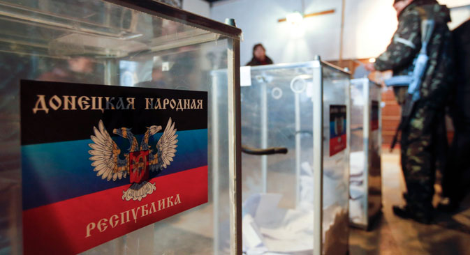 Un bureau de vote dans la République autoproclamée de Donetsk. Crédit photo : Reuters