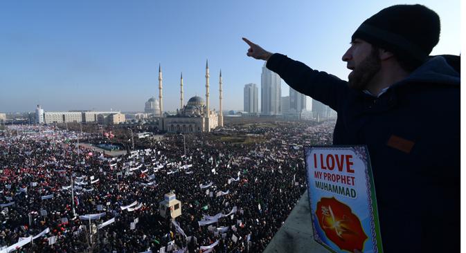 Meeting à Grozny. Crédit : AP