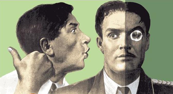 "Affiche soviétique par Viktor Koretsky : ""Bavarder, c'est servir l'ennemi""."