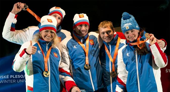 Fondeurs russes lors de la cérémonie de décoration. Source : tatry2015.sk